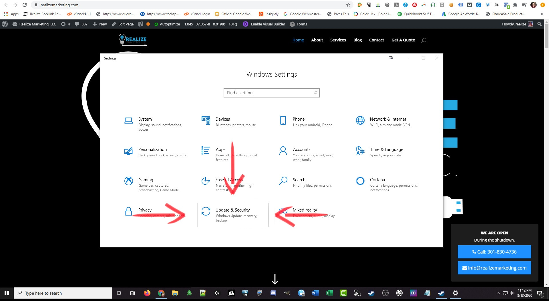 Backing Up Your Data Click update and security