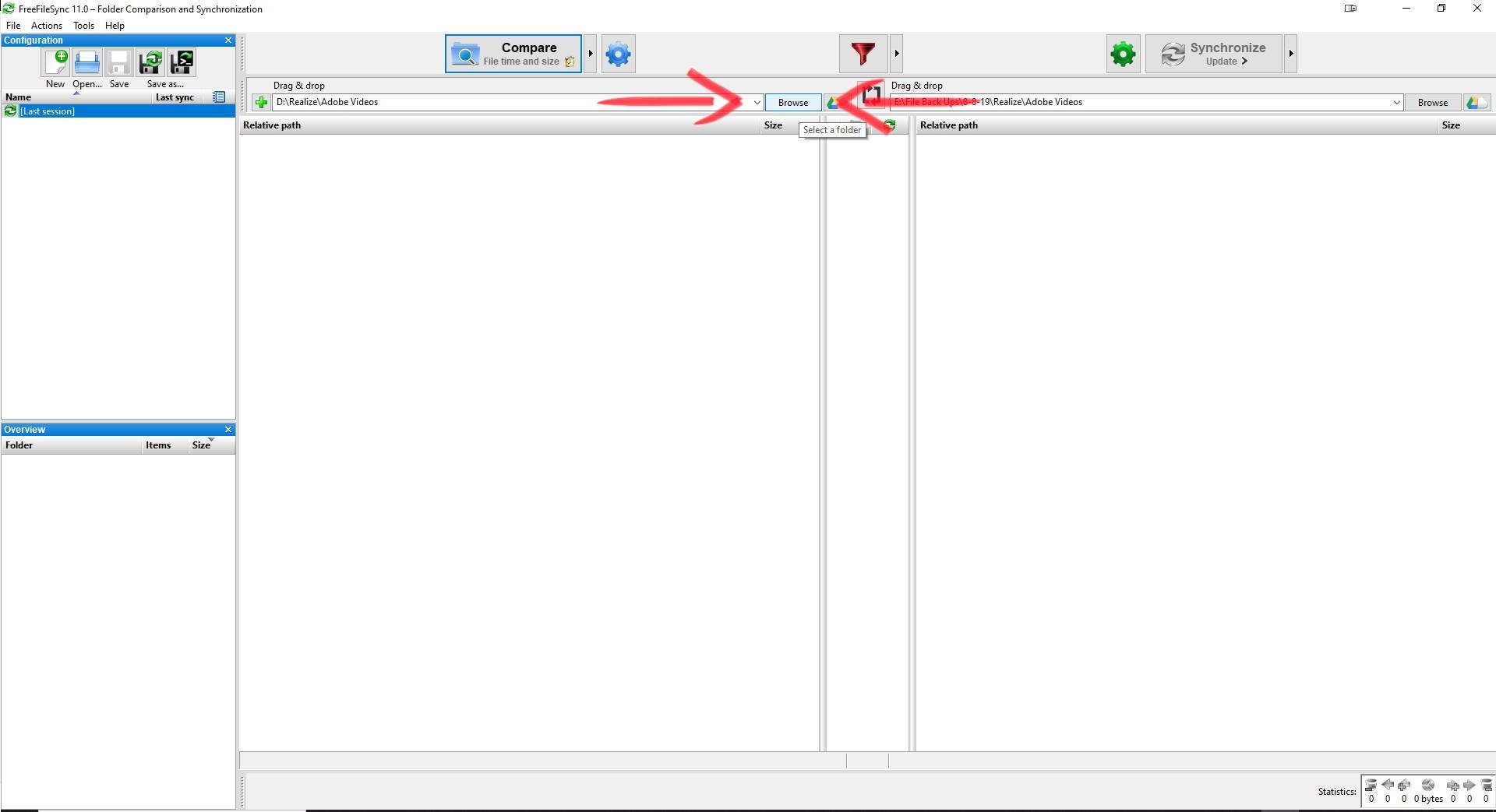 Backup Data With Free File Sync Choose Backup Folder